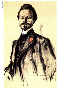 К. Д. Бальмонт. Портрет работы В. А. Серова. 1905 год. Третьяковская галерея (Москва).