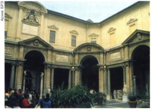 Внутренний двор Музея Пио-Клементино (Восьмиугольный дворик) в Ватикане. 1772-73. Архитектор М. Симонетти.